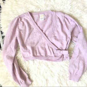 Pretty Pastel Lilac Ballerina Sweater Wrap Bow 7-8